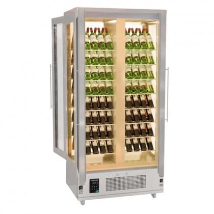 Frigider pentru vinuri total vitrat cu dispunere oblica a sticlelor, 4 usi - 1